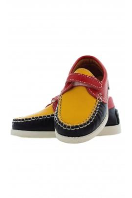 pantofle granatowo żółte, Atlanta Mocassin