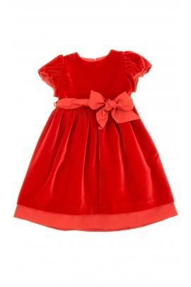 Sukienka welurowa z krótkim rękawem - czerwona, Mariella Ferrari