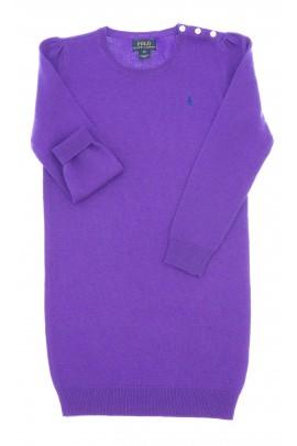 Fioletowa sukienka wełniana z długim rękawem, Polo Ralph Lauren