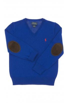 Szafirowy sweter chłopięcy w literkę V, Polo Ralph Lauren