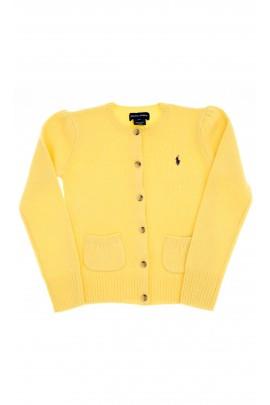 Żółty sweter dziewczęcy rozpinany, Polo Ralph Lauren