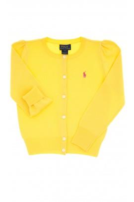 Żółty sweter dziewczęcy rozpinany z przodu na guziki, Polo Ralph Lauren