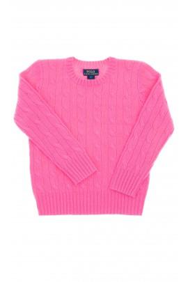 Różowy sweter dziewczęcy okrągły pod szyją, Polo Ralph Lauren