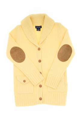 Żółty sweter wełniany z szalowym kołnierzem, Polo Ralph Lauren