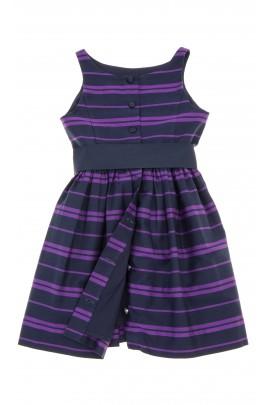 Sukienka w granatowo-fioletowe poziome pasy, Polo Ralph Lauren