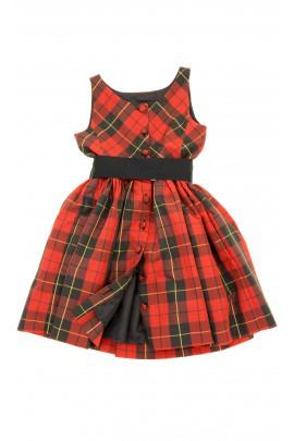 Sukienka w czerwono-czarną kratę, Polo Ralph Lauren