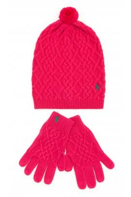 Różowe rękawiczki z 5 palcami, Polo Ralph Lauren