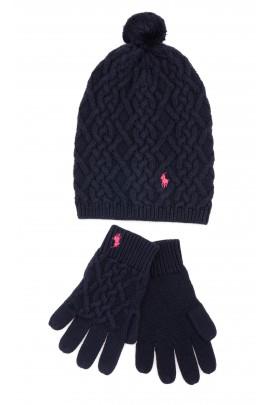 Granatowe rękawiczki dziewczęce z 5 palcami, Polo Ralph Lauren