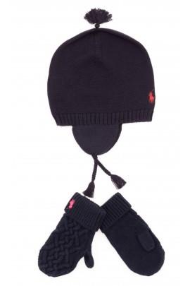 Granatowe rękawiczki dziewczęce z jednym palcem, Polo Ralph Lauren
