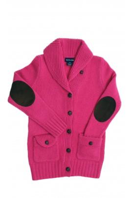 Różowy sweter wełniany z szalowym kołnierzem, Polo Ralph Lauren