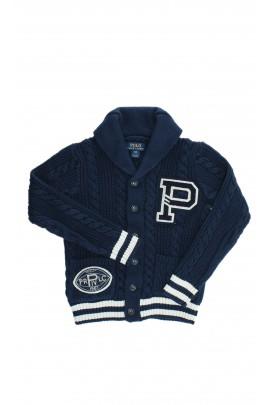 Granatowy rozpinany na guziki sweter, Polo Ralph Lauren