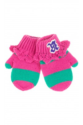 Różowo-zielone rękawiczki dziewczęce, Polo Ralph Lauren