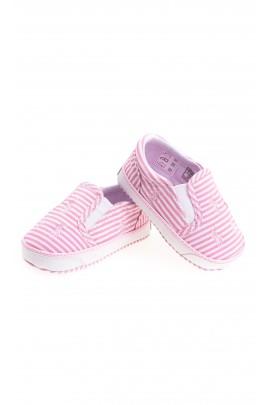 Różowo-białe buciki niemowlęce, Polo Ralph Lauren