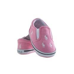 Pink linen baby shoes, Ralph Lauren