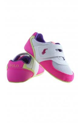 Biało-różowe buciki niemowlęce, Ralph Lauren