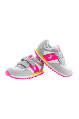 Buty sportowe dziewczęce szaro-różowe, Polo Ralph Lauren