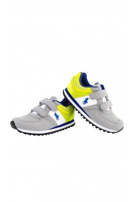 Buty sportowe chłopięce szaro-zielone na rzepy, Polo Ralph Lauren