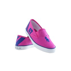 Pink plimsoll shoes with rubbers on sides, Polo Ralph Lauren