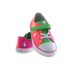 Orange-and-pink single-Velcro plimsoll shoes, Polo Ralph Lauren