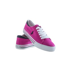 Pink laced plimsoll shoes, Polo Ralph Lauren