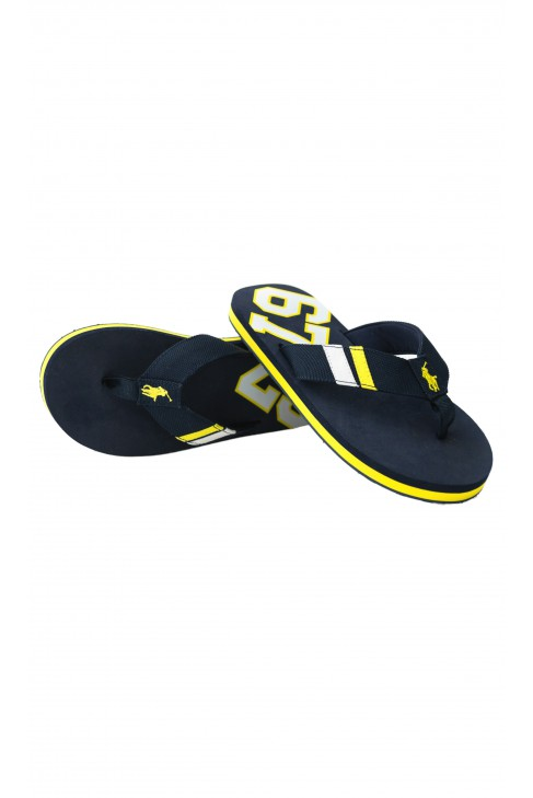 Navy blue flip-flops with a yellow horse, Polo Ralph Lauren