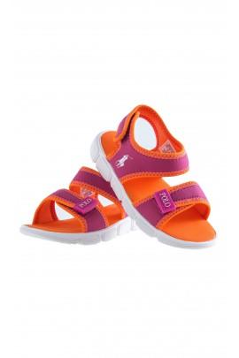 Sandałki pomarańczowe na rzepy, Polo Ralph Lauren