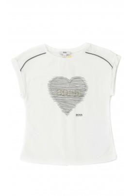 Biały t-shirt dziewczęcy, Hugo Boss