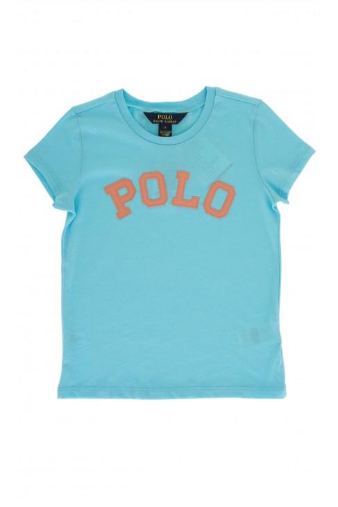 Niebieski t-shirt z napisem POLO, Polo Ralph Lauren