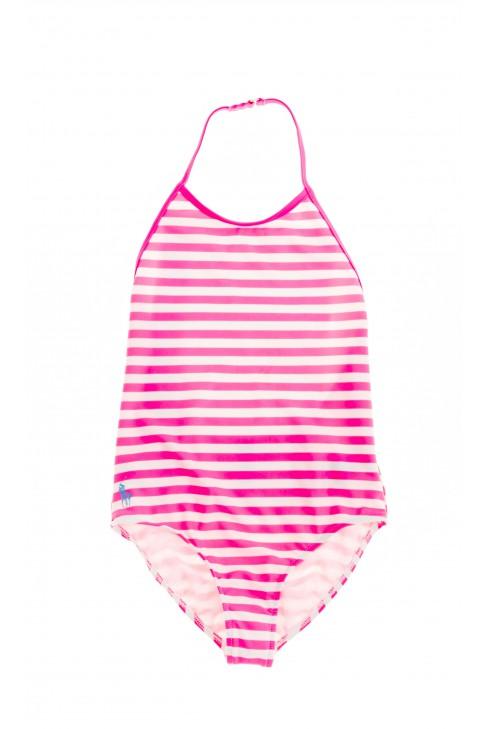 Jednoczęściowy w różowo -białe paski strój kąpielowy, Polo Ralph Lauren