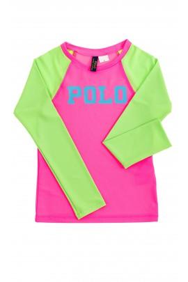 Różowo-zielony t-shirt dziewczęcy, Polo Ralph Lauren