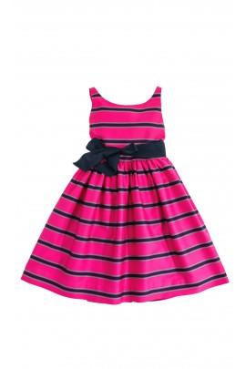 Różowa sukienka w wąskie granatowe paski, Polo Ralph Lauren