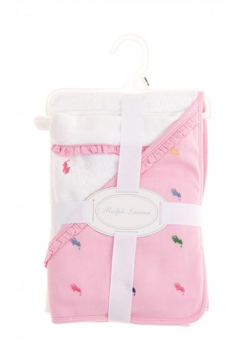 Biało różowy ręcznik kąpielowy niemowlęcy, Polo Ralph Lauren
