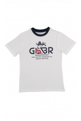 Biały t-shirt z napisem GBR, Polo Ralph Lauren