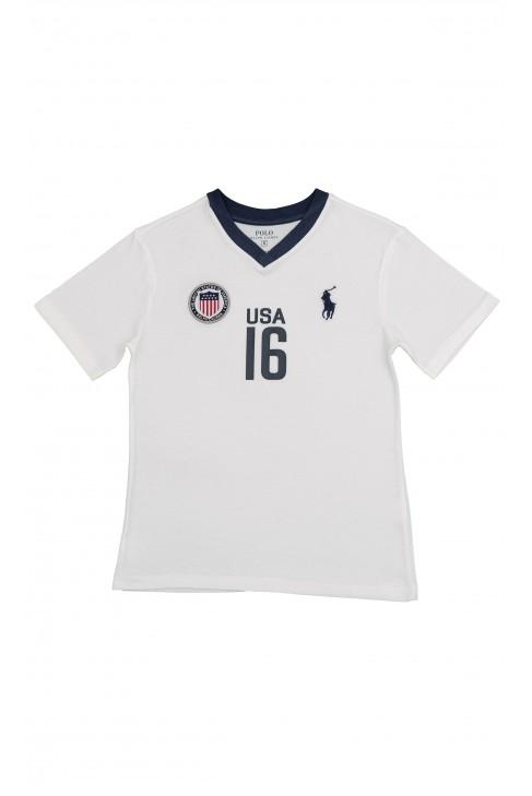 Biały t-shirt z napisem USA, Polo Ralph Lauren