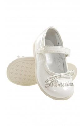 Białe pantofelki z napisem, Blumarine Baby