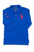 Szafirowe polo chłopięce z długim rękawem, Polo Ralph Lauren