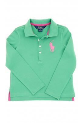 Zielone polo dziewczęce z długim rękawem, Polo Ralph Lauren