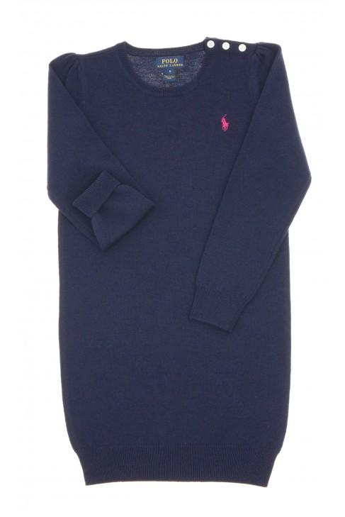Granatowa sukienka wełniana z długim rękawem, Polo Ralph Lauren