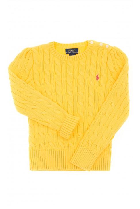 Żółty sweter, ścieg warkoczowy, Polo Ralph Lauren