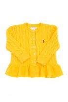 Żółty sweter rozpinany z falbanką, Polo Ralph Lauren