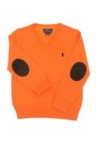 Pomarańczowy sweter chłopięcy w literkę V, Polo Ralph Lauren