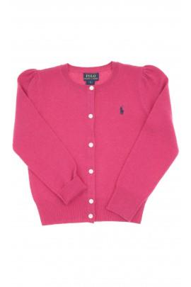 Ciemno różowy sweter dziewczęcy rozpinany, Polo Ralph Lauren