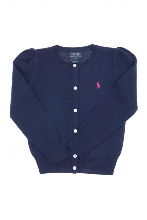 Granatowy sweter dziewczęcy rozpinany z przodu, Polo Ralph Lauren