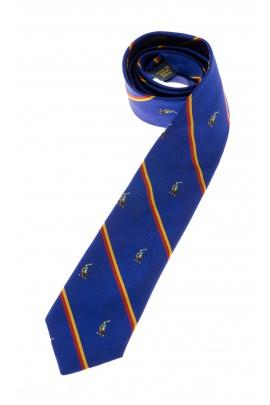 Szafirowy krawat w poprzeczne paski, Polo Ralph Lauren