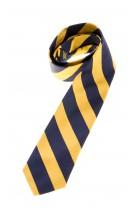 Krawat w granatowo-żółte poprzeczne pasy, Polo Ralph Lauren