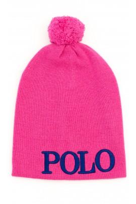 Różowa czapka dziewczęca z dużym napisem POLO, Polo Ralph Lauren