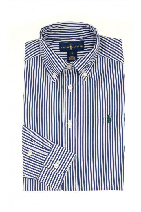 Koszula w pionowe biało-granatowe paski, Polo Ralph Lauren