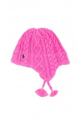 Różowa czapka dziewczęca, Polo Ralph Lauren