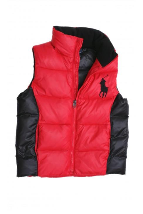 Czerwono czarny bezrękawnik chłopięcy, Polo Ralph Lauren