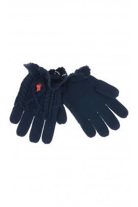 Granatowe rękawiczki dziewczęce, Polo Ralph Lauren